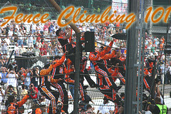 Tony Stewart and Team Climbing the Fence after the win at the Brickyard 400